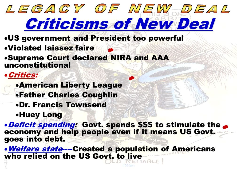 Criticisms of New Deal LEGACY OF NEW DEAL