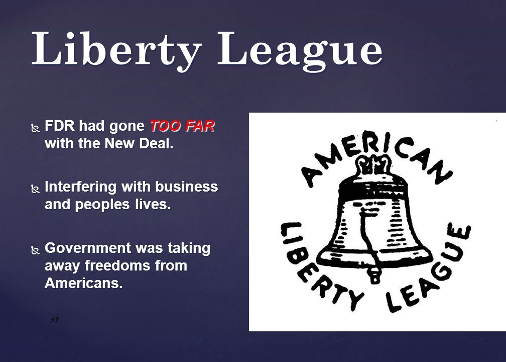 Liberty League FDR had gone TOO FAR with the New Deal.