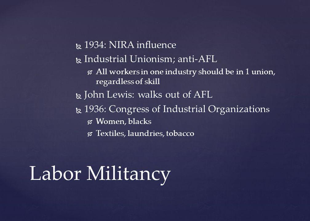 Labor Militancy 1934: NIRA influence Industrial Unionism; anti-AFL