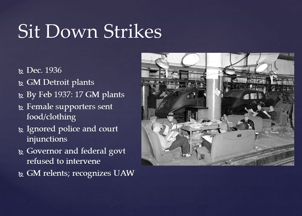 Image result for the united auto workers union staged their first sit-down strike in 1936