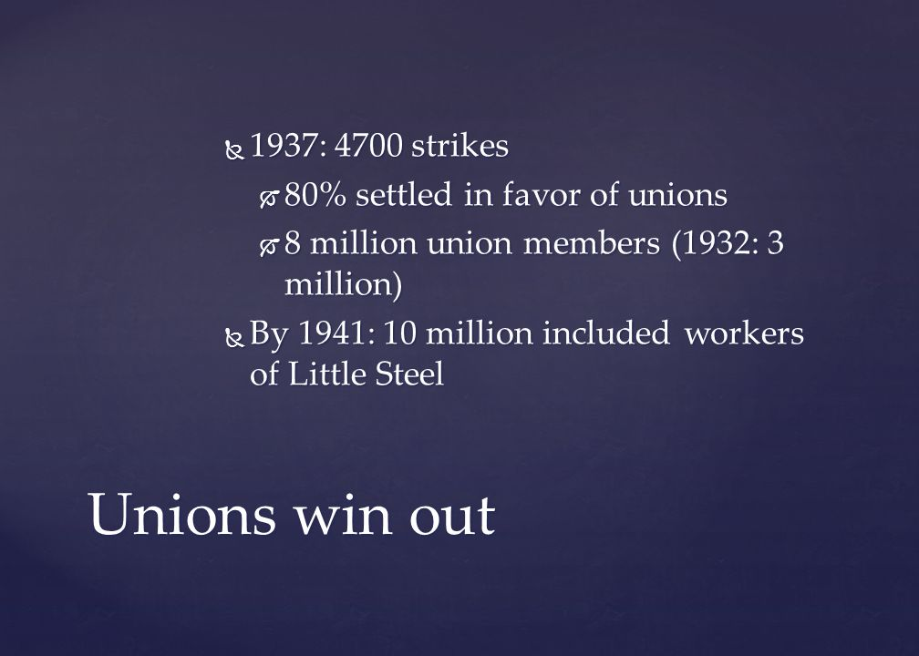 Unions win out 1937: 4700 strikes 80% settled in favor of unions