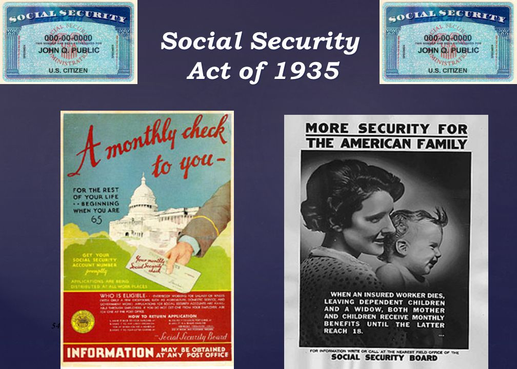 Social Security Act of 1935 System like this had already existed in GB and Germany. Townshend and Long movements caused FDR to act.