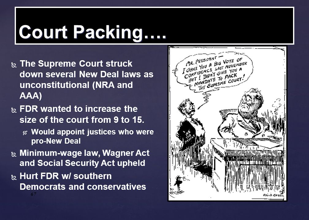 Court Packing…. The Supreme Court struck down several New Deal laws as unconstitutional (NRA and AAA)