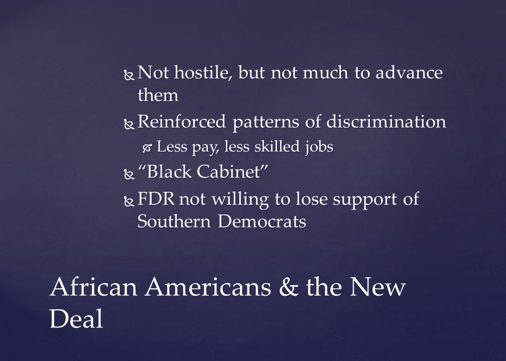 African Americans & the New Deal