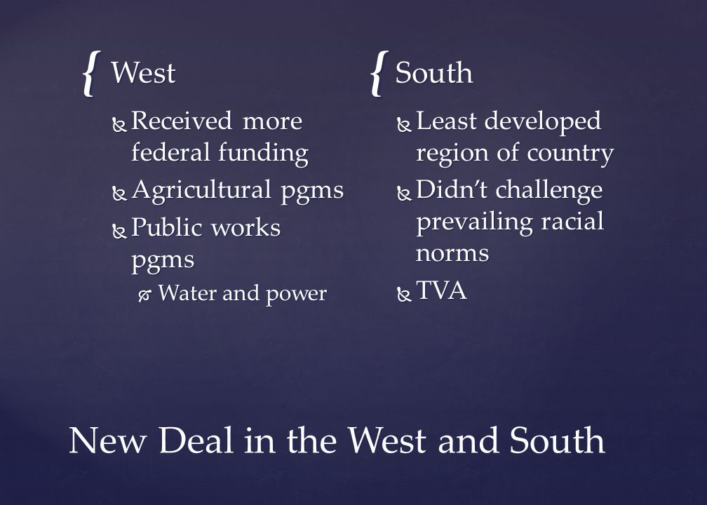 New Deal in the West and South