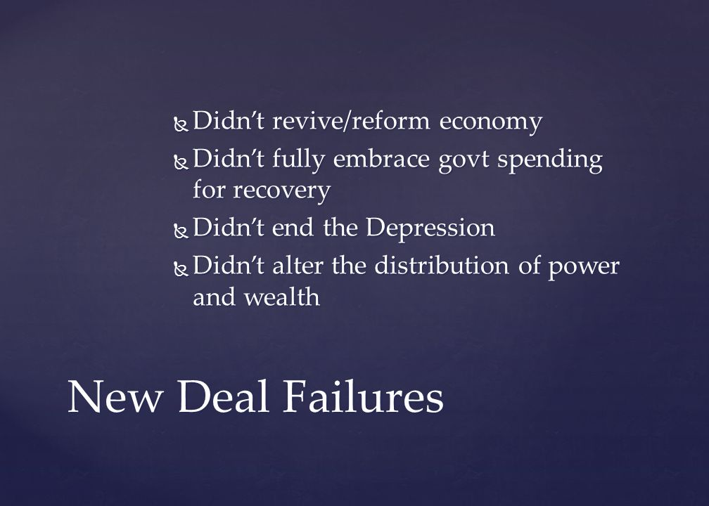 New Deal Failures Didn't revive/reform economy