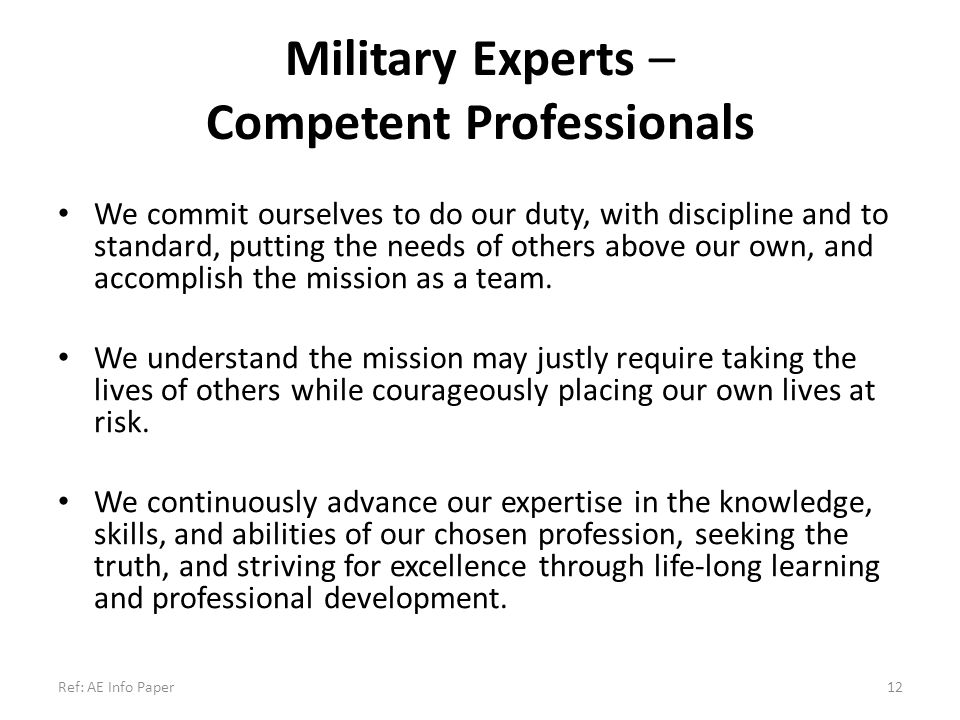 Military Experts – Competent Professionals