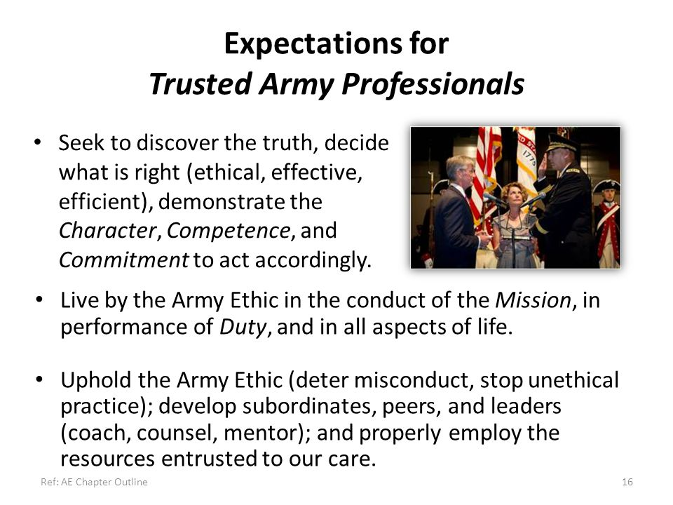 Expectations for Trusted Army Professionals