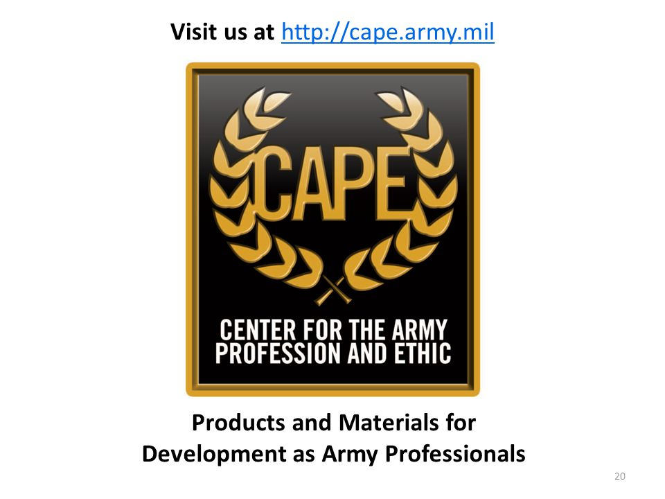 Products and Materials for Development as Army Professionals