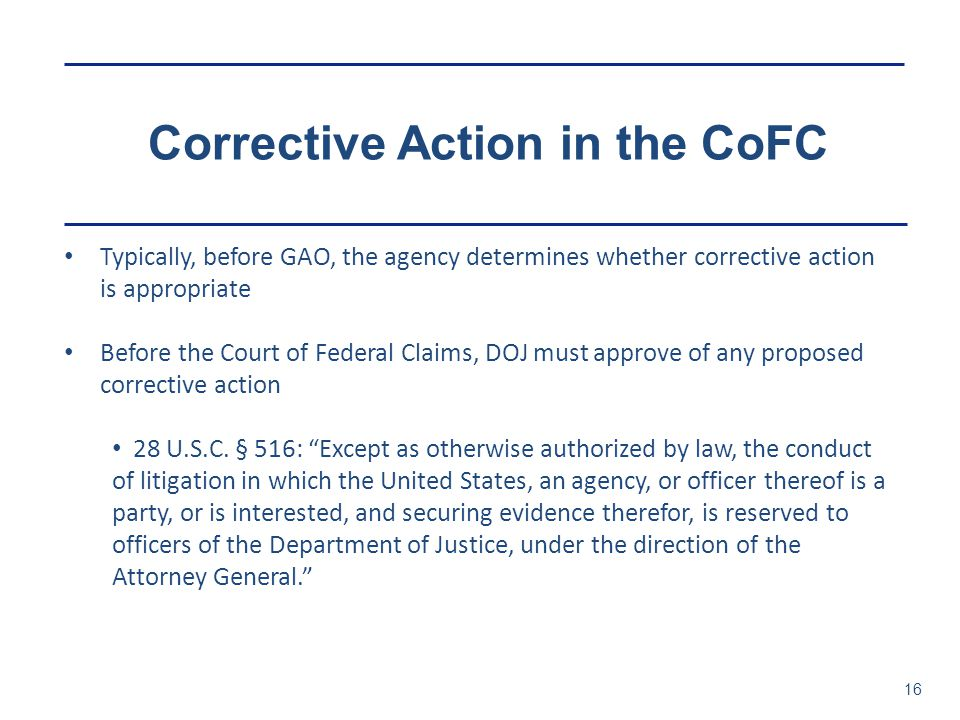 Corrective Action in the CoFC