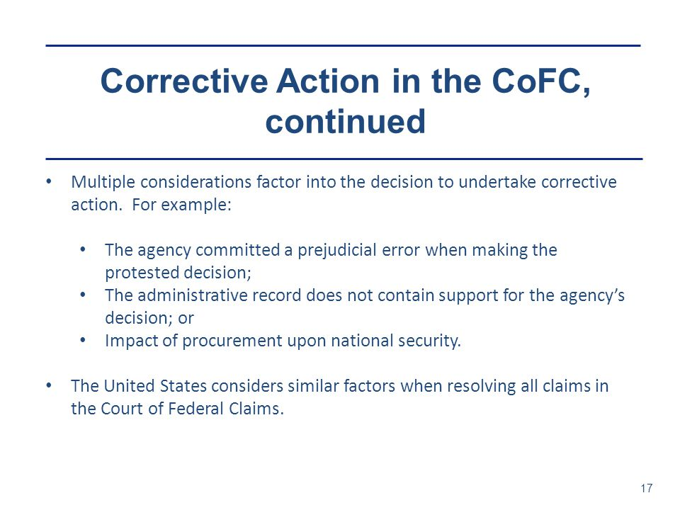 Corrective Action in the CoFC, continued