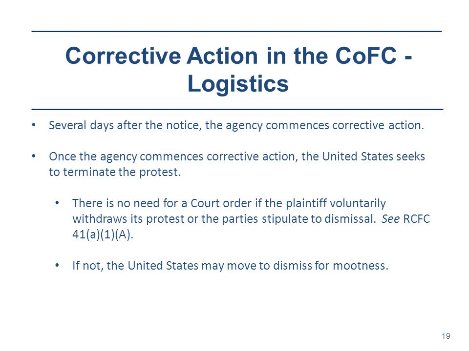 Corrective Action in the CoFC - Logistics
