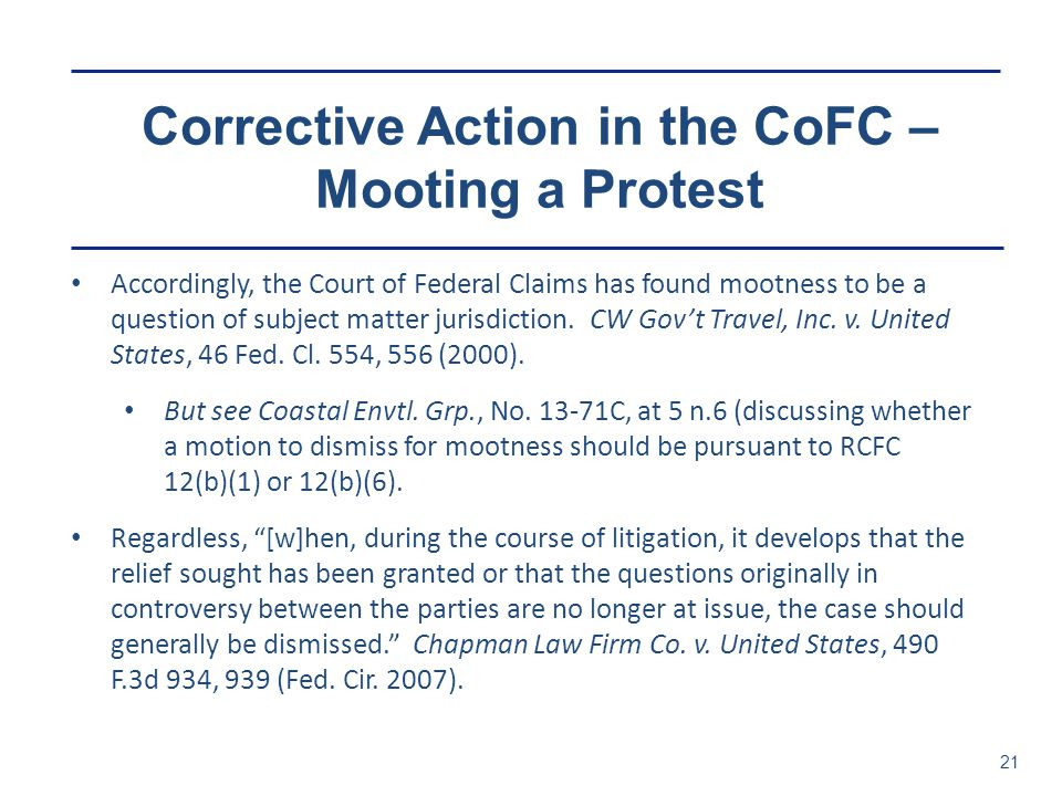 Corrective Action in the CoFC – Mooting a Protest