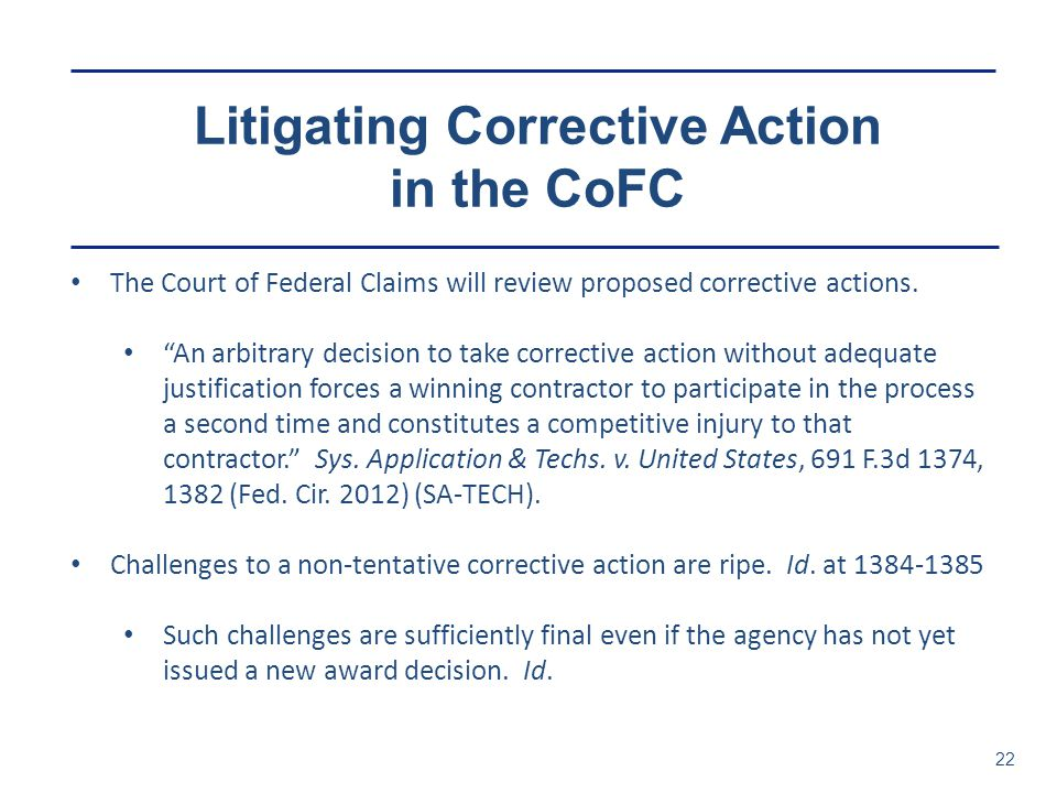 Litigating Corrective Action in the CoFC