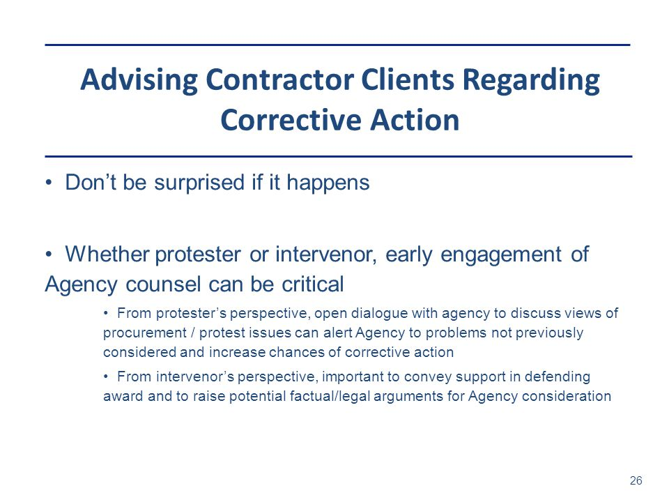 Advising Contractor Clients Regarding Corrective Action