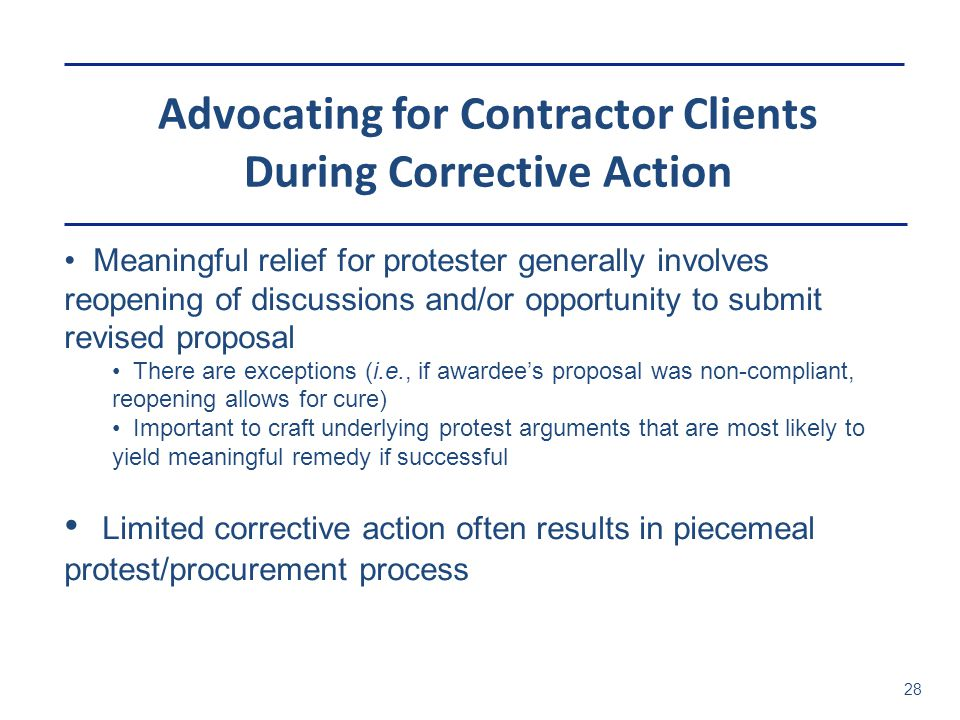Advocating for Contractor Clients During Corrective Action