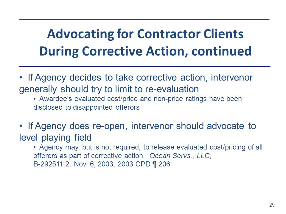 Advocating for Contractor Clients During Corrective Action, continued
