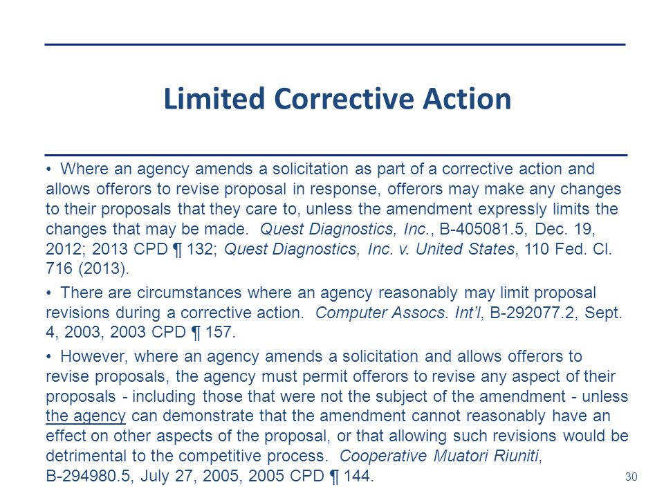 Limited Corrective Action