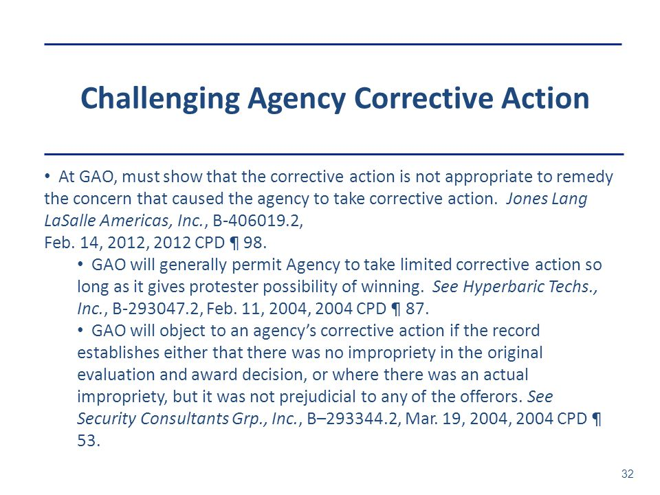 Challenging Agency Corrective Action