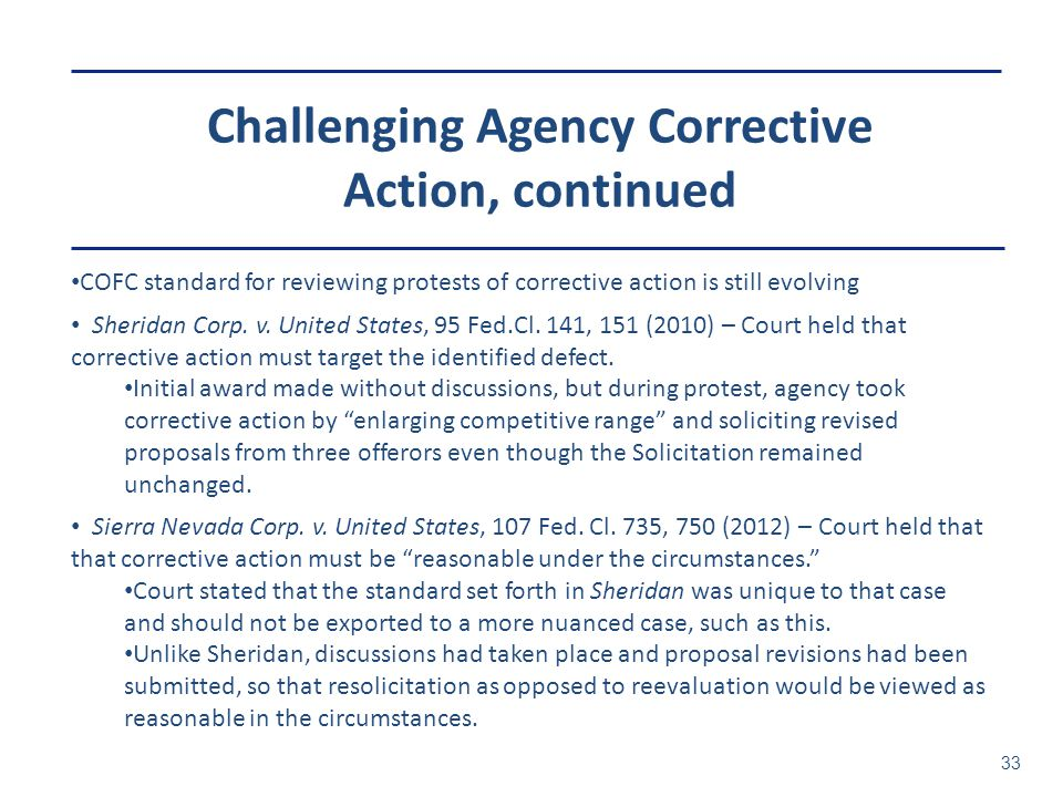 Challenging Agency Corrective Action, continued