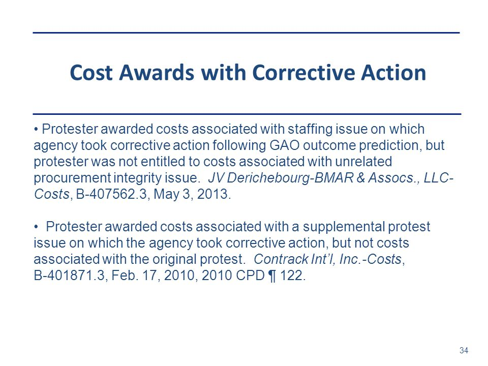 Cost Awards with Corrective Action