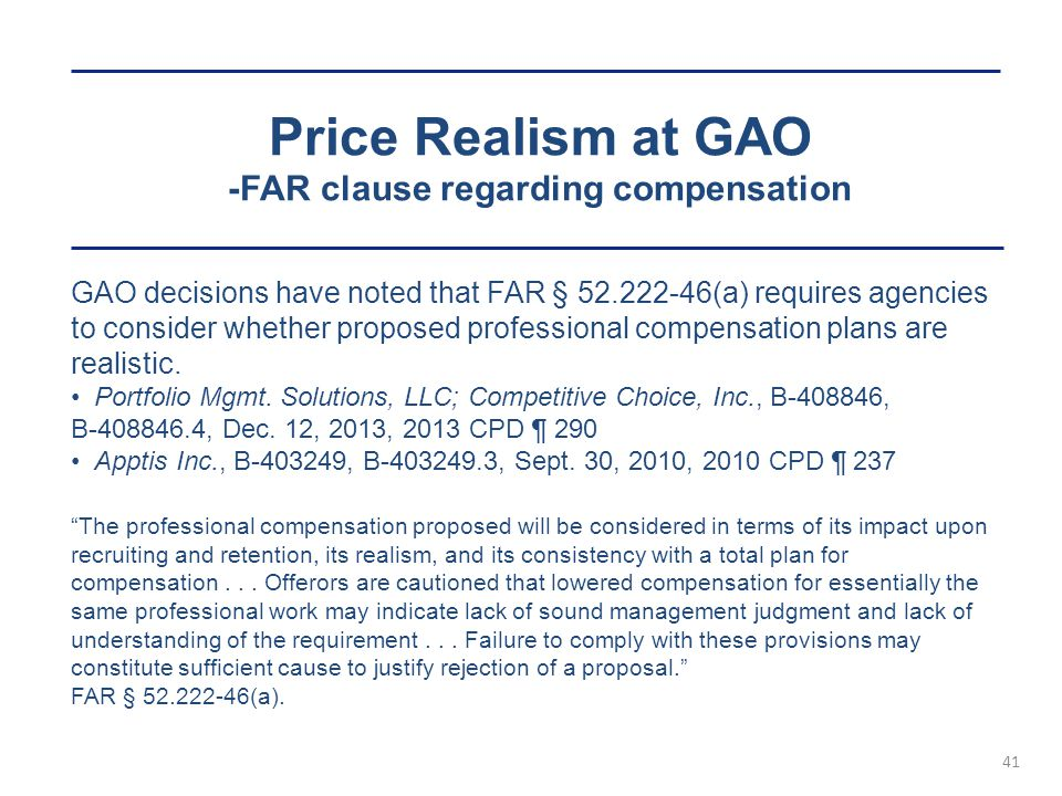 Price Realism at GAO -FAR clause regarding compensation