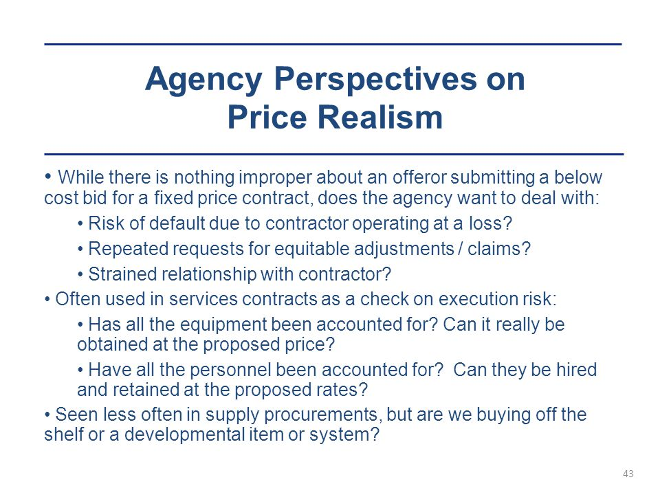 Agency Perspectives on Price Realism