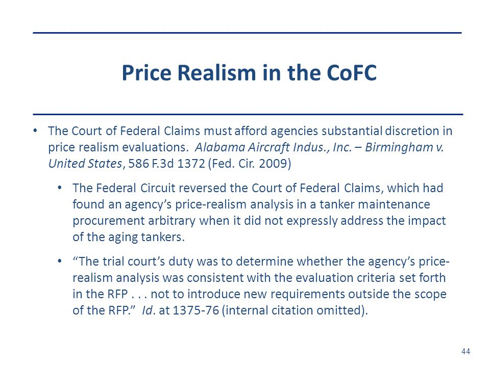 Price Realism in the CoFC