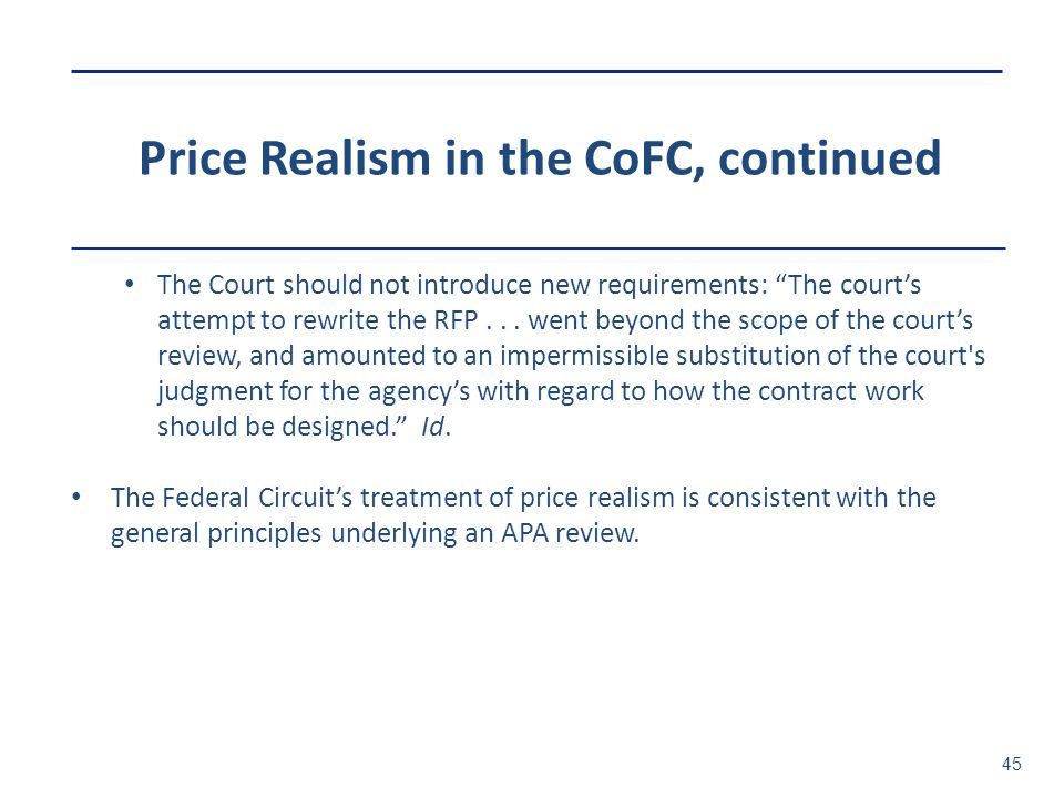 Price Realism in the CoFC, continued