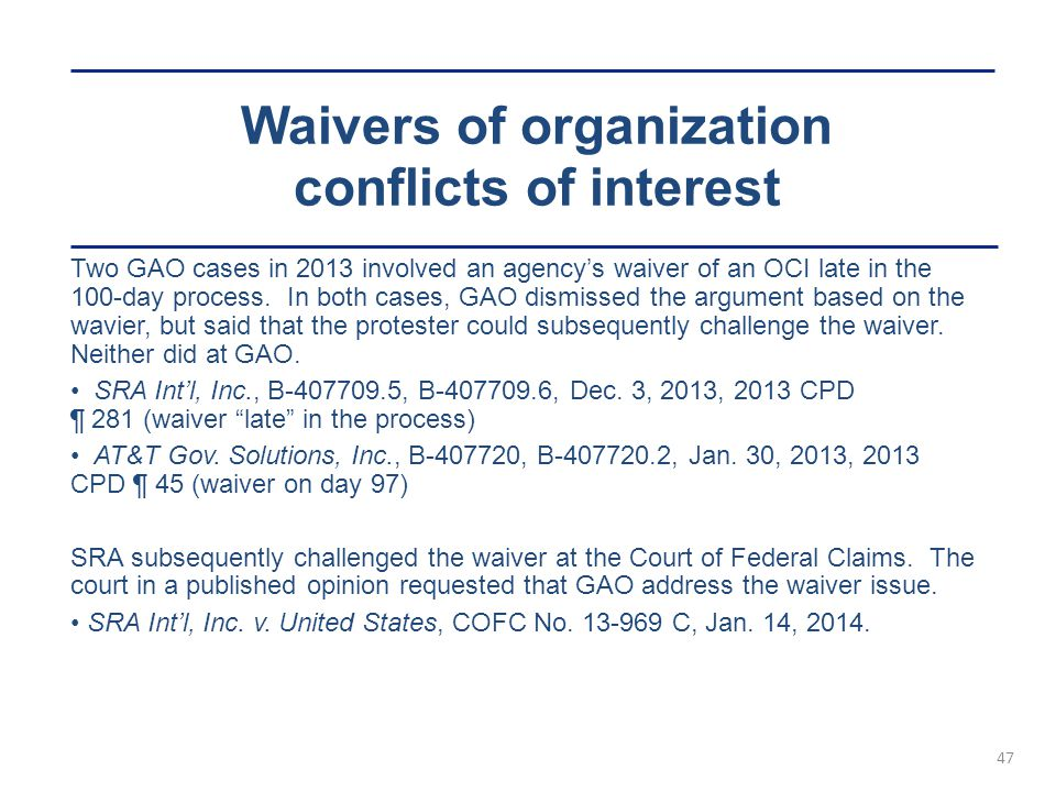 Waivers of organization conflicts of interest