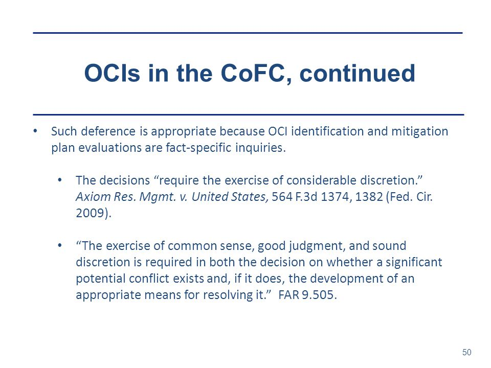 OCIs in the CoFC, continued