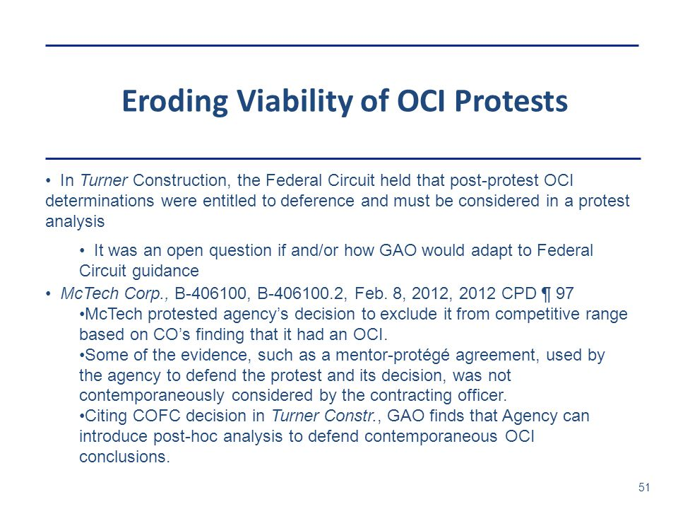 Eroding Viability of OCI Protests