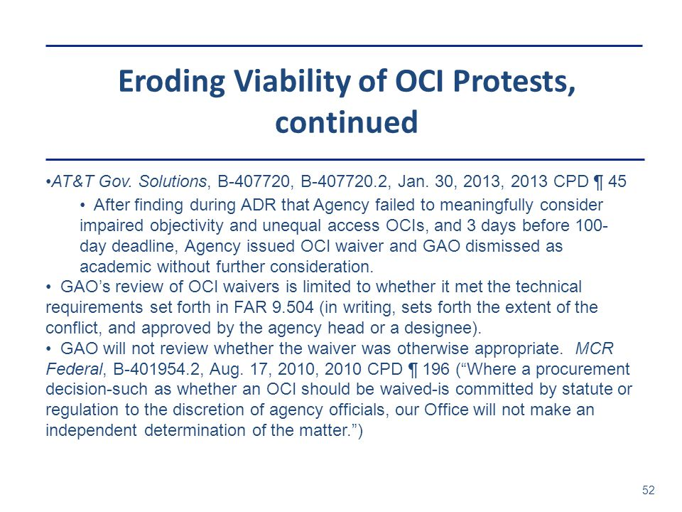 Eroding Viability of OCI Protests, continued
