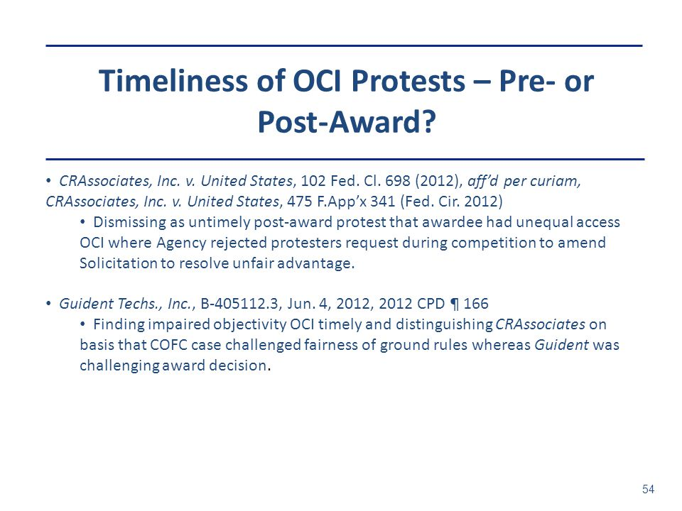 Timeliness of OCI Protests – Pre- or Post-Award