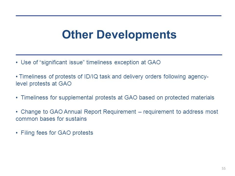 Other Developments Use of significant issue timeliness exception at GAO.