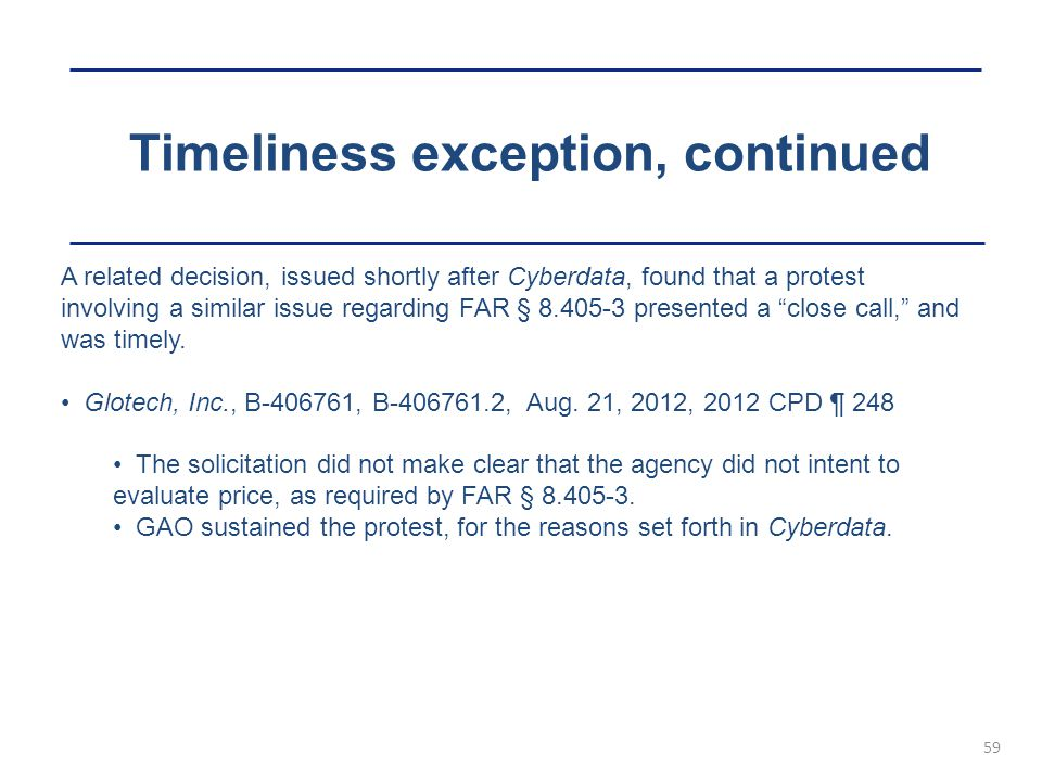 Timeliness exception, continued