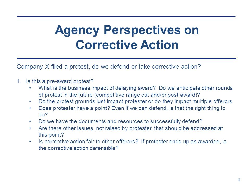 Agency Perspectives on Corrective Action