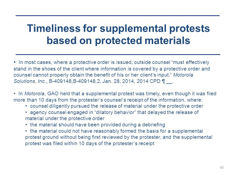 Timeliness for supplemental protests based on protected materials