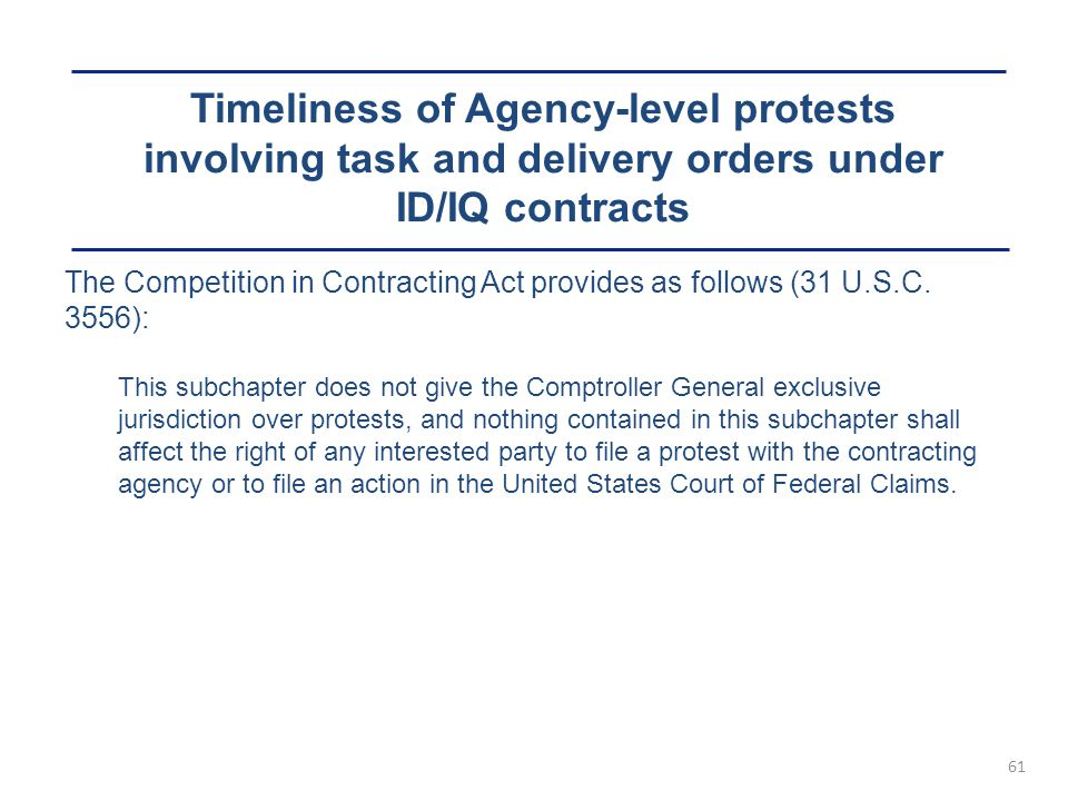 Timeliness of Agency-level protests involving task and delivery orders under ID/IQ contracts