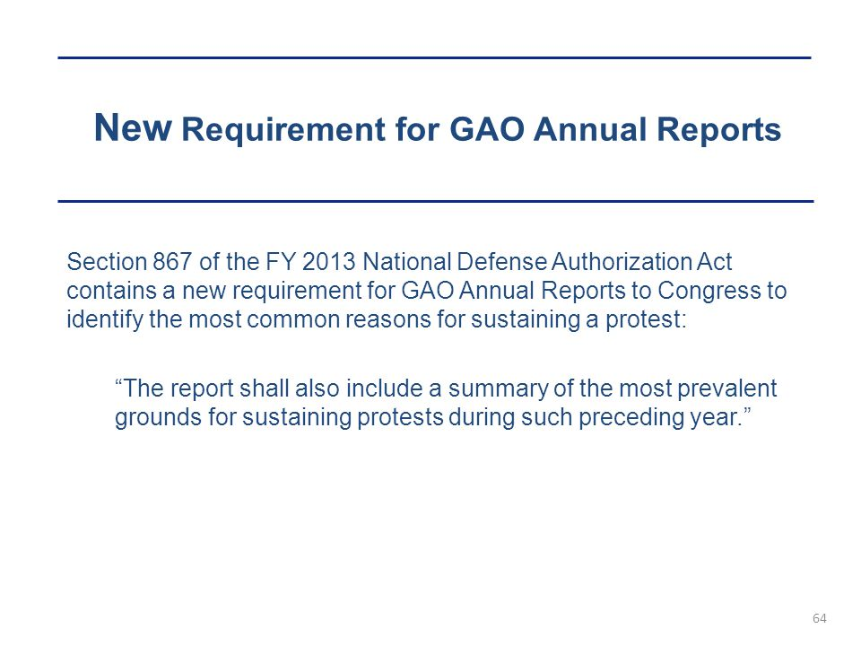New Requirement for GAO Annual Reports