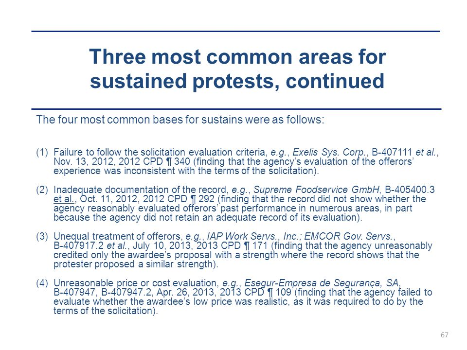 Three most common areas for sustained protests, continued