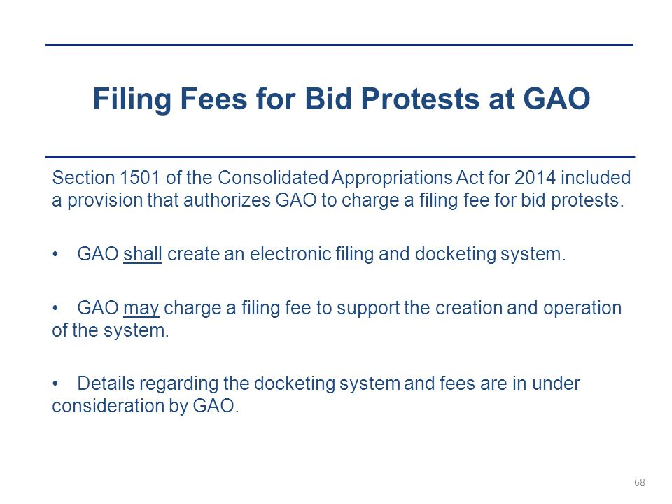 Filing Fees for Bid Protests at GAO