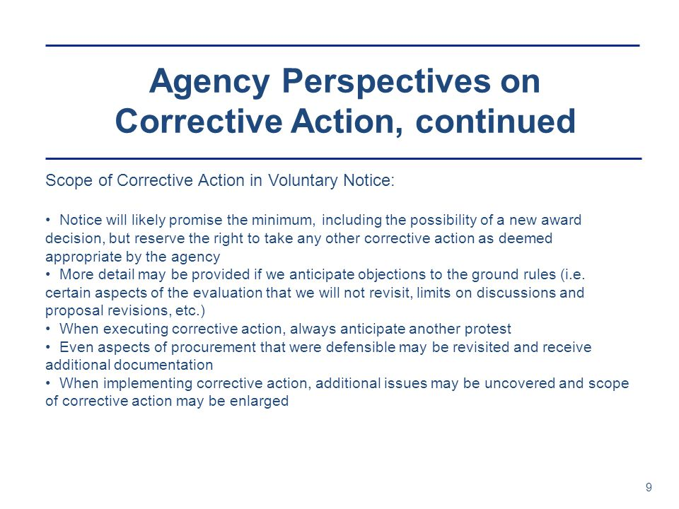 Agency Perspectives on Corrective Action, continued