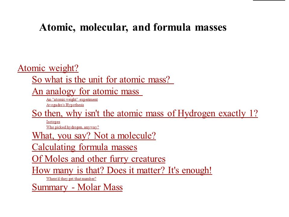 atomic molecular and formula masses ppt video online