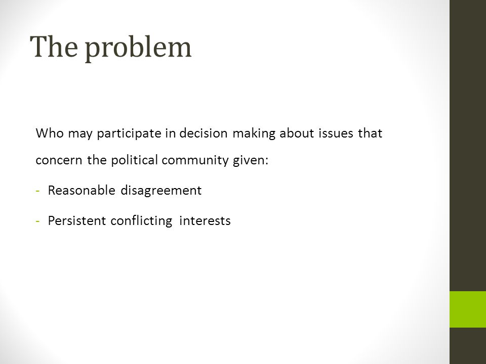 The problem Who may participate in decision making about issues that concern the political community given: