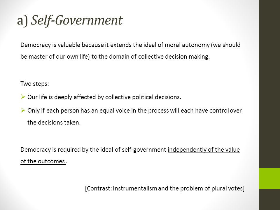 a) Self-Government