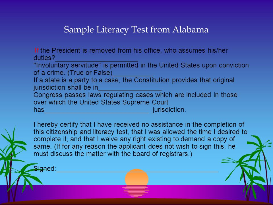 Sample Literacy Test from Alabama