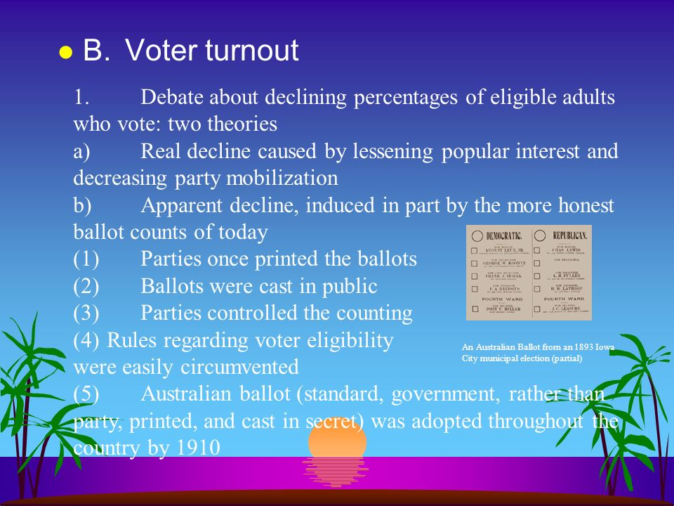 B. Voter turnout 1. Debate about declining percentages of eligible adults who vote: two theories.