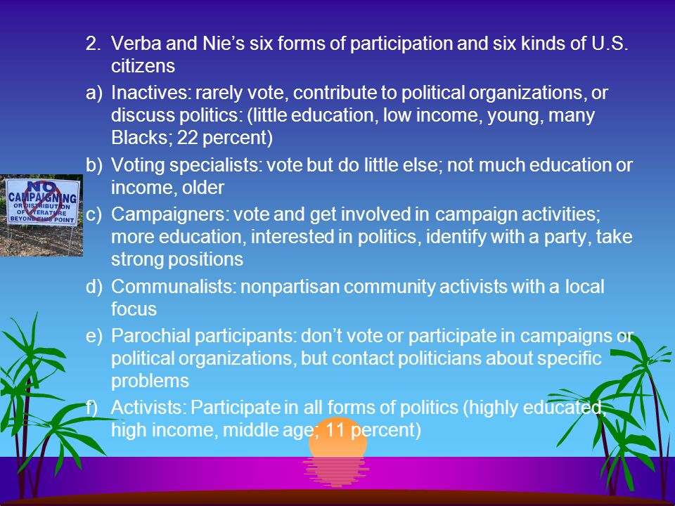2. Verba and Nie's six forms of participation and six kinds of U. S