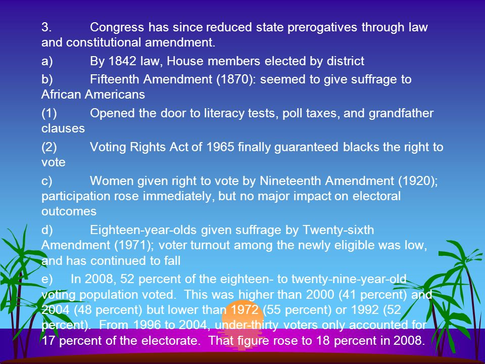 3. Congress has since reduced state prerogatives through law and constitutional amendment.